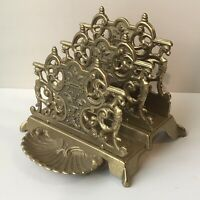 VTG Solid Brass Letter Napkin Holder Ornate Art Nouveau Shell Tray Metal Decor