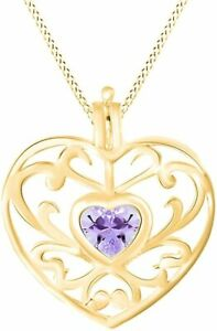 Simulated Amethyst Filigree Heart Pendant Necklace in 14K Gold Over Silver