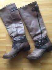 Görtz Shoes Stiefel Stiefeletten Braun Leder, Gr. 38 Gefüttert Bikerboots Schuhe