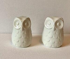 Novelty Owl Ceramic Pottery Salt & Pepper White Cruet Set Pots Ceramic Tableware