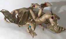 """Golden 5 Headed Hydra Dragon 14"""" Stuffed Animal Plush Gem Eyes Fantasy Mystical"""