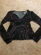 Mix It Women's Purple Black Abstract V-Neck Top Large