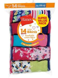 Hanes Girls Tagless Bikini Underwear 14 Pack Panties Sizes 6 - 16 Choose Size