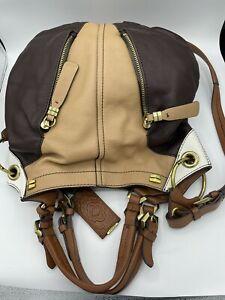 orYANY Pebble Leather Color-Block Victoria Large Hobo Bag Brown Carmel Bone