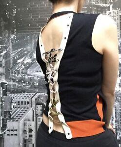 Pier Antonio Gaspari Top, Size AU/UK 8, US 4, IT 40, EU 36, Black/Orange/White