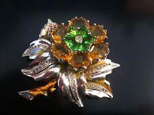 Vintage Rhinestone Enamel  Flower Pin Brooch Dujay Floral Beauty TLC