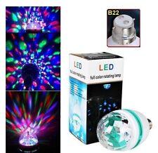 B22 RGB 3 LED Crystal Ball Stage Light  Auto Rotating Lamp Party Disco DJ Mini