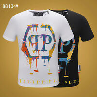 PHILIPP PLEIN Black/White Letters Beading Men Casual T-shirt P88134# Size M-3XL