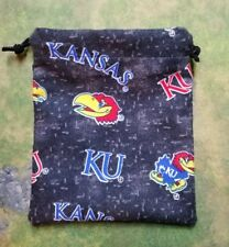 KU University of Kansas flannel dice bag, card bag, makeup bag