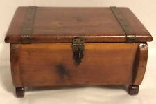Vtg Copper Trimmed Wood Jewelry Trinket Box Treasure Chest Greeting Card Saver