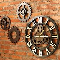 φ45cm Holz Vintage Wanduhr Quarzuhr Zahnrad Metall-Farbe Römische Zahlen Uhr Neu
