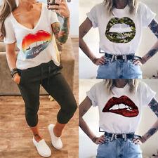 Damen T-Shirt V-Ausschnitt Bluse Freizeit Lippen Basic Tops Lose Oberteile Shirt
