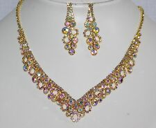 Gold W. AB Iridescent Rhinestone Crystal Necklace, Earrings Bridal Set