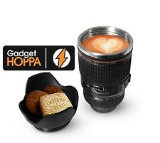 Camera Lens Mug Tea Coffee Cup Mug Stainless Steel Thermos Lined & Lid