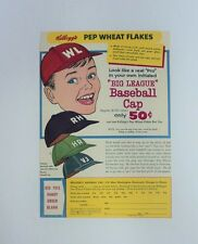 1950's Kelloggs Pep Wheat Flakes Baseball Cap Cereal Box Panel SALE 2 days ONLY
