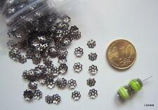 Casquillas capuchones flor 6 mm X 150 UNIDADES terminales negro metal abalorios
