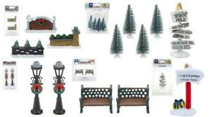 Miniature Christmas Village Scene Resin Props Multipack Tree North Pole Signs