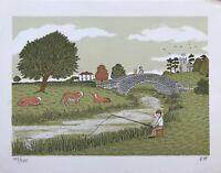 Lithography England Fishermen At River Cows Modern Type Fishing UK Mono Vh 27x21