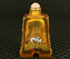 old glaze hand painting dog tree figure statue snuff bottle noble decorate