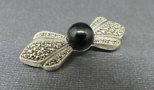 Judith Jack Sterling Silver Black Onyx Marcasite Bow Brooch Pin Designer Pretty