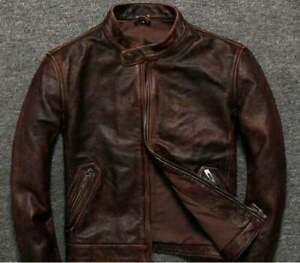 Men's Biker Cafe Racer Vintage Motorcycle Distress Brown Leather Jacket