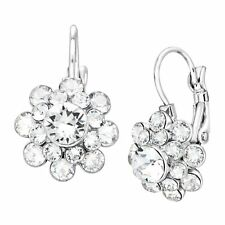 Crystaluxe Flower Drop Earrings w/ Swarovski Crystals Sterling Silver over Brass