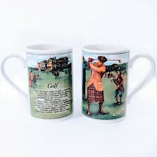 Two Golf Dunoon Stoneware 10 ounce Mugs Coffee Cups Made in Scotland