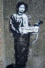 Banksy Hitchhiker to Anywhere Charles Manson In Prison Clothing Poster 12x18