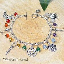 The Wiccan Charm Bracelet with Chakra Gemstones - Pagan Jewellery, Witch, Wicca