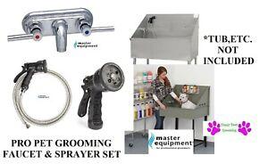 Pet GROOMING FAUCET&Stainless Steel Sprayer Hose&Valve Nozzle Bath Tub SET BLACK