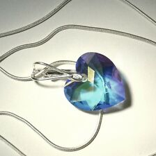"Sterling Silver Swarovski Elements AB Faceted CZ Crystal Heart 20"" Necklace NEW"