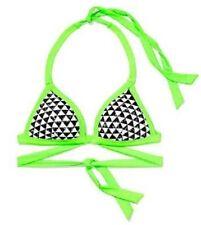 NWT Victorias Secret PINK Swim Triangle Push-Up Body Wrap Bikini Top Neon Geo S