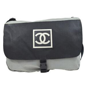 CHANEL Sport Line CC Messenger Shoulder Bag 8903240 Black Gray Nylon 82452