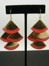 "$12 Carole Inc Dangle Style Fan Earrings Coral Enamel & Goldtone Metal 3"" Drop"