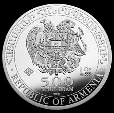 2021 Silver 1 oz .999 Fine Armenia 500 Dram Noah's Ark Coin BU+ Proof-Like