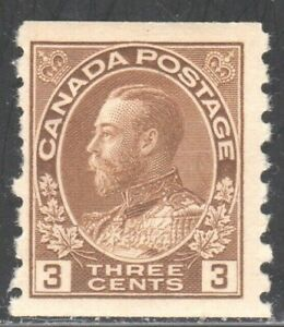 CANADA (Scott 129) 1918 KING GEORGE V 3c brown COIL MINT