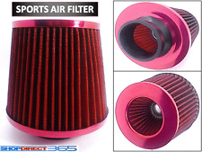 Universal Red Finish Car Air Filter Induction Kit High Power Sports Mesh Cone #