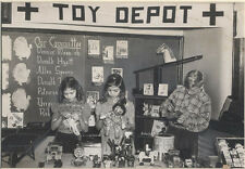 VINTAGE PHOTOGRAPH OF CHILDREN AT A RED CROSS TOY DEPOT EVENT -IN MATTE FRAME