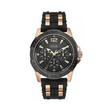 New GUESS Black Silicon Rose Gold Multifunction Sporty Men' s Watch W0366G3