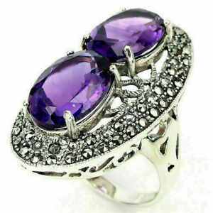 Ring Purple Amethyst and Marcasite Sterling Silver Genuine Gems Size R 1/2 US 9