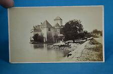 1870s CDV Carte De Visite Chillon Castle Lake Geneva Veytaux Suisse By Garcin