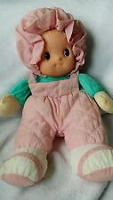 """Uneeda Doll Blonde Hair Vinyl Rubber Face Cloth Body 14"""" Pink outfit Bonnet"""