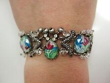 Ayala Bar Bracelet ,Israel,Magnet closer,  Fabric with swarovski crystals  beads
