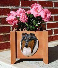 Collie Planter Flower Pot Rough Blue Merle