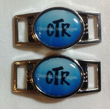 Blue CTR  oval shoelace charm pair (2 charms) shoes or paracord bracelets