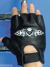 Gants moto mitaines cuir noir CROSSBONES Taille M