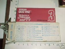 QUIZ WIZ Computer Q&A book #3 Movies & TV in original box / Coleco 1980