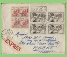 More details for algeria 1955 two blocks (inc soldiers welfare) on express cover to morocco