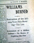 WILLIAM AZ Coconino County Along Route 66 Arizona FIRE Disaster 1901 Newspaper