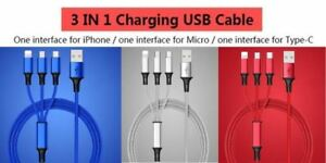 3 in 1 Multi USB charger lead cable cord  iPhone 8 pin Micro USB Type-C Android